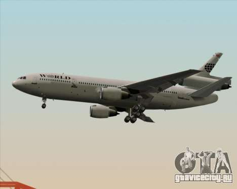 McDonnell Douglas DC-10-30 World Airways для GTA San Andreas вид сзади слева