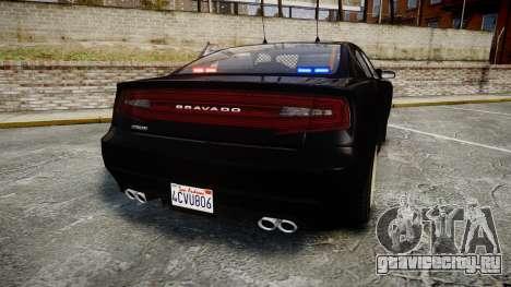 GTA V Bravado Buffalo Unmarked [ELS] Slicktop для GTA 4 вид сзади слева