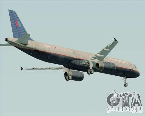 Airbus A321-200 United Airlines для GTA San Andreas вид справа