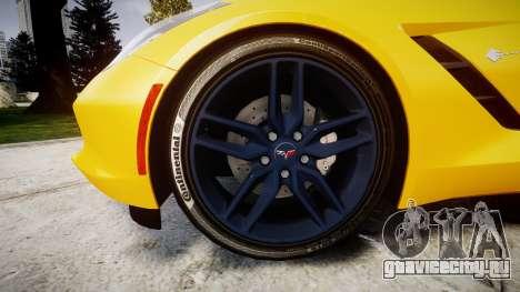 Chevrolet Corvette C7 Stingray 2014 v2.0 TireCon для GTA 4 вид сзади