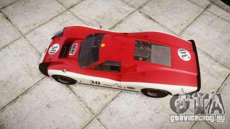 Ford GT40 Mark IV 1967 PJ Meyer 30 для GTA 4 вид справа