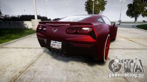 Chevrolet Corvette C7 Stingray 2014 v2.0 TireKHU для GTA 4 вид сзади слева