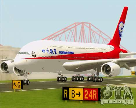 Airbus A380-800 Sichuan Airlines для GTA San Andreas вид сверху
