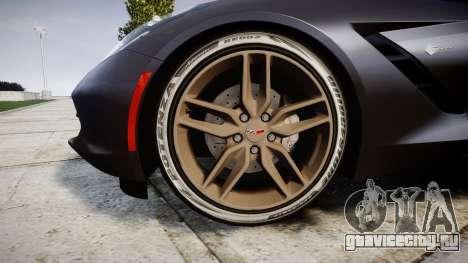 Chevrolet Corvette C7 Stingray 2014 v2.0 TireBr3 для GTA 4 вид сзади