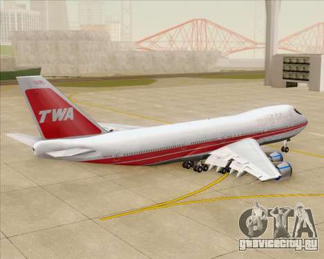 Boeing 747-100 Trans World Airlines (TWA) для GTA San Andreas вид сверху