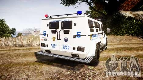 SWAT Van Police Emergency Service для GTA 4 вид сзади слева