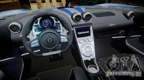 Koenigsegg Agera 2011 [EPM] [Update] для GTA 4 вид сзади