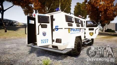 SWAT Van Police Emergency Service [ELS] для GTA 4 вид сзади слева