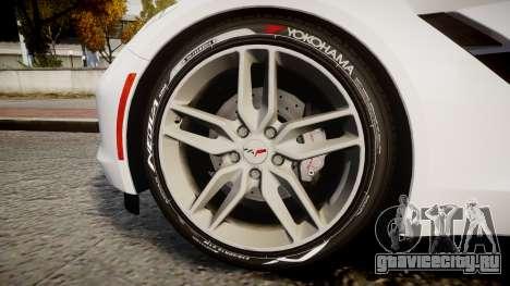 Chevrolet Corvette C7 Stingray 2014 v2.0 TireYA1 для GTA 4 вид сзади