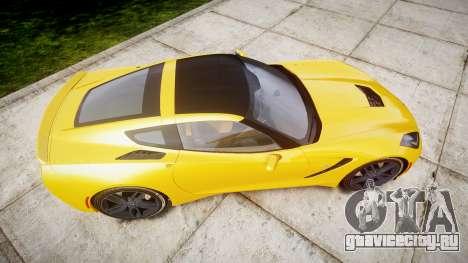 Chevrolet Corvette C7 Stingray 2014 v2.0 TireCon для GTA 4 вид справа