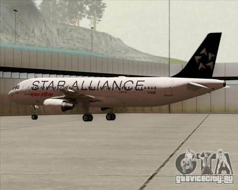 Airbus A320-200 Air India (Star Alliance Livery) для GTA San Andreas вид сзади слева