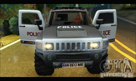 Hummer H3 Police для GTA San Andreas вид сзади