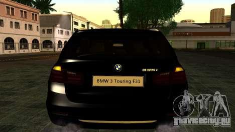 BMW 3 Touring F31 2013 1.0 для GTA San Andreas вид сзади