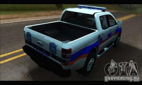 Ford Ranger P.B.A 2015 Text2 для GTA San Andreas вид сзади слева