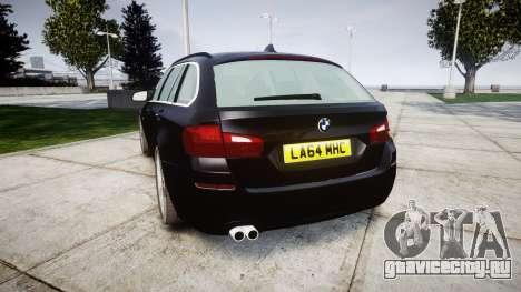 BMW 525d F11 2014 Facelift Civilian для GTA 4 вид сзади слева