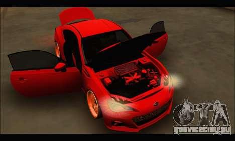 Subaru BRZ для GTA San Andreas вид изнутри