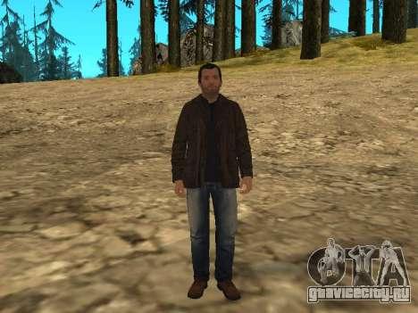 Майкл из GTA 5 в кожаной куртке для GTA San Andreas второй скриншот