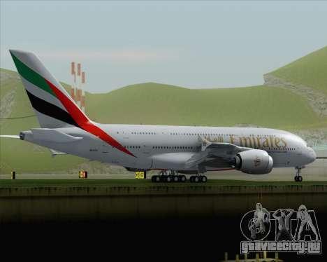 Airbus A380-800 Emirates (A6-EDJ) для GTA San Andreas вид сзади слева