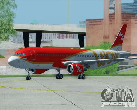 Airbus A320-200 Indonesia AirAsia WOW Livery для GTA San Andreas вид снизу