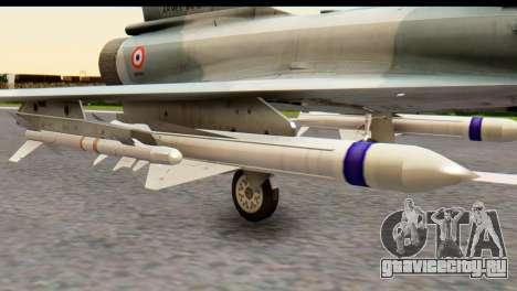 Dassault Mirage 2000-5 для GTA San Andreas вид сзади слева