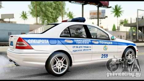 Mercedes-Benz C32 AMG ДПС для GTA San Andreas вид сзади слева