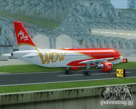 Airbus A320-200 Indonesia AirAsia WOW Livery для GTA San Andreas вид сбоку