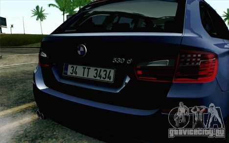 BMW 530d F11 Facelift HQLM для GTA San Andreas вид сзади