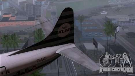 L-188 Electra KLM v2 для GTA San Andreas вид сзади слева