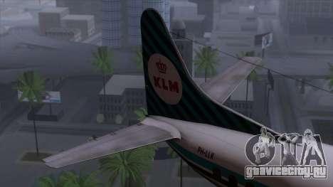 L-188 Electra KLM v1 для GTA San Andreas вид сзади слева