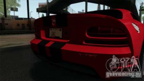 Dodge Viper SRT10 v1 для GTA San Andreas вид сзади