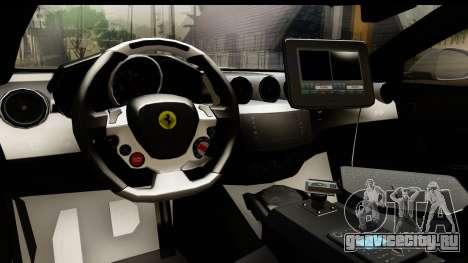 NFS Rivals Ferrari FF Cop для GTA San Andreas вид изнутри