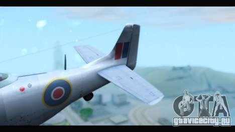 P-51 Mustang Mk4 для GTA San Andreas вид сзади слева