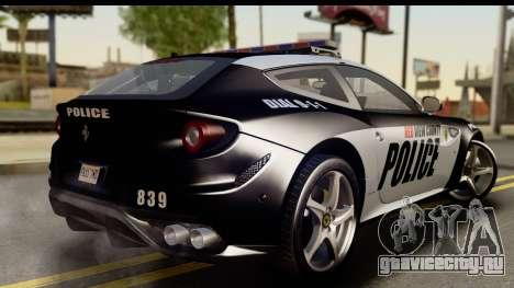 NFS Rivals Ferrari FF Cop для GTA San Andreas вид слева