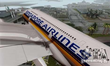 Airbus A380-800 Singapore Airline для GTA San Andreas вид сзади