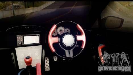 Toyota GT86 Itasha для GTA San Andreas вид изнутри
