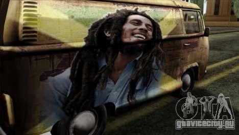 Volkswagen T2 Bob Marley для GTA San Andreas вид сзади