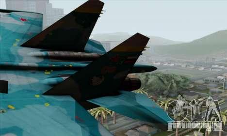 SU-27 Flanker A Warwolf Squadron для GTA San Andreas вид сзади слева