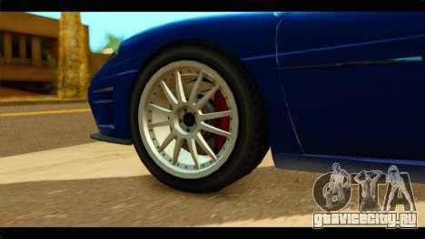 GTA 5 Grotti Turismo для GTA San Andreas вид сзади слева