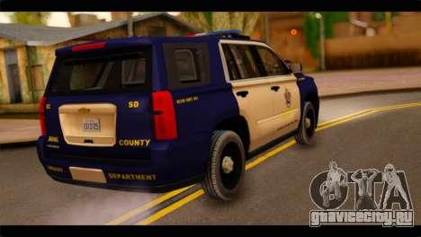 Chevrolet Suburban 2015 BCSD Sheriff для GTA San Andreas вид слева