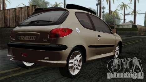 Peugeot 206 для GTA San Andreas вид слева
