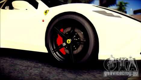 Ferrari 458 Speciale 2015 для GTA San Andreas вид сзади слева