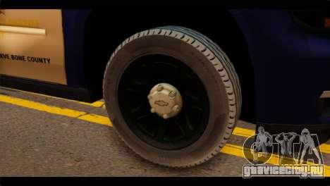 Chevrolet Suburban 2015 BCSD Sheriff для GTA San Andreas вид сзади слева