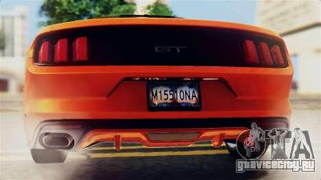 Ford Mustang GT 2015 Stock Tunable v1.0 для GTA San Andreas двигатель