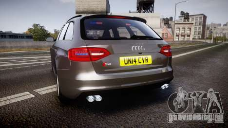 Audi S4 Avant Unmarked Police [ELS] для GTA 4 вид сзади слева
