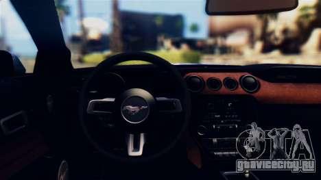 Ford Mustang GT 2015 Stock Tunable v1.0 для GTA San Andreas вид изнутри