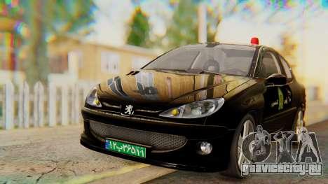 Peugeot 206 Coupe Police для GTA San Andreas вид справа