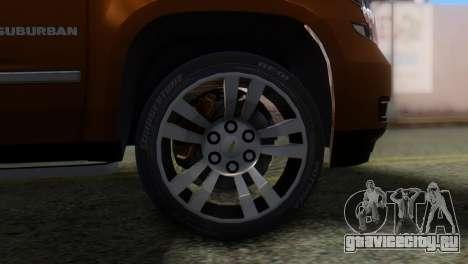 Chevrolet Suburban 2015 для GTA San Andreas вид сзади слева