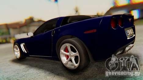 Chevrolet Corvette Sport для GTA San Andreas вид сзади слева