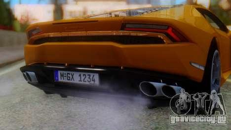 Lamborghini Huracan 2015 Horizon Wheels для GTA San Andreas вид сзади