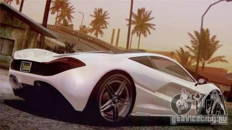 GTA 5 Progen T20 для GTA San Andreas вид сзади слева